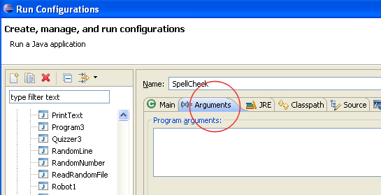How to Send command line arguments in Eclipse?